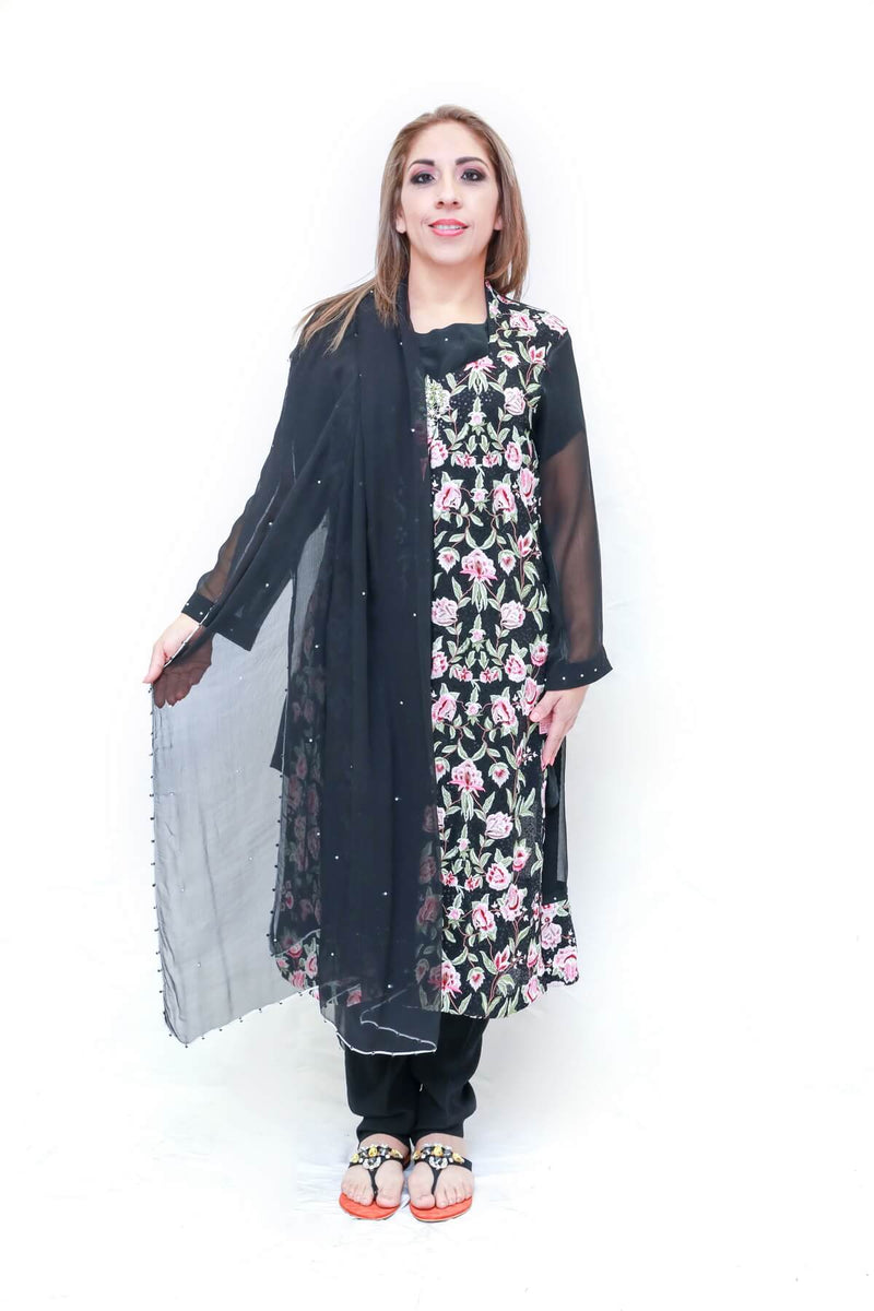 Pakistani delicately designed dress with chiffon and silk. Embroidered jacket by thread and motifs a famous Pakistani brand