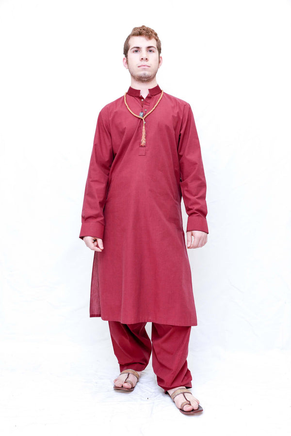 Red Cotton Suit-Salwar Kameez- Trendz & Traditionz Boutique