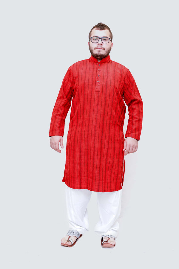 Red Lined Silky Kurta-Shirt- Trendz & Traditionz Boutique