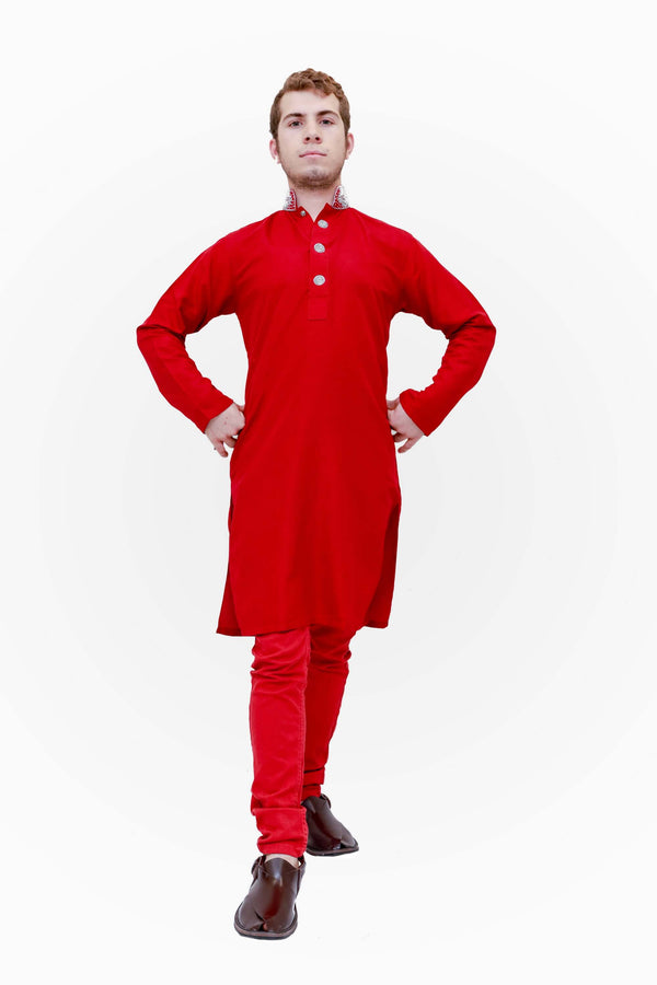 Red Cotton Embroidery Shirt-Kurta-Kameez  -Trendz & Traditionz Boutique