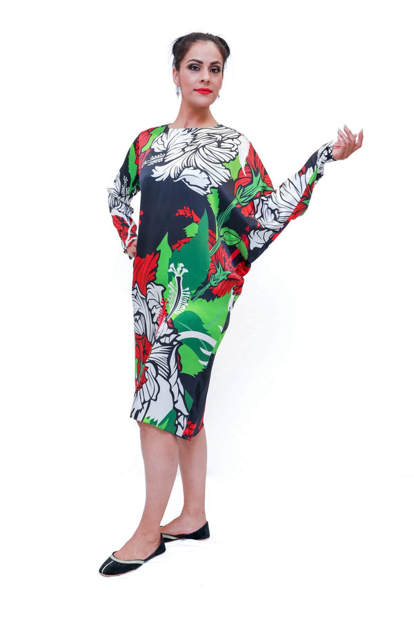 Silk Printed Dress- Trendz & Traditionz Boutique