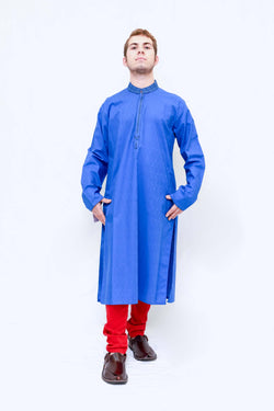 Men Blue Embroidered Shirt-Kameez-Kurta -Trendz & Traditionz Boutique