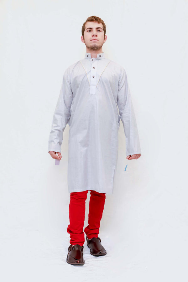 Men Cotton Grey Shirt-Kameez-Kurta- Trendz & Traditionz Boutique