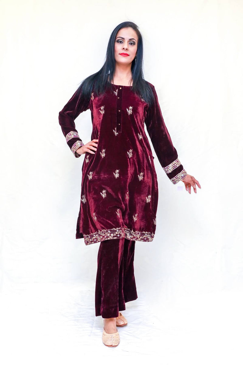 Velvet Embroidery Shalwar Kamiz Dress-Trendz & Traditionz Boutique