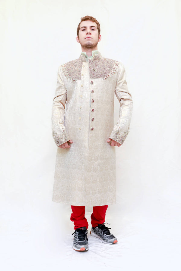 Silk embroidered Embossed Coat-Sherwani- Trendz & Traditionz Boutique