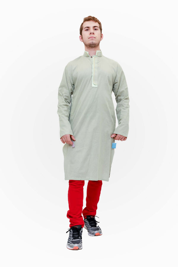 A simple light green cotton shirt. Cotton Kurta-Kameez Shirt