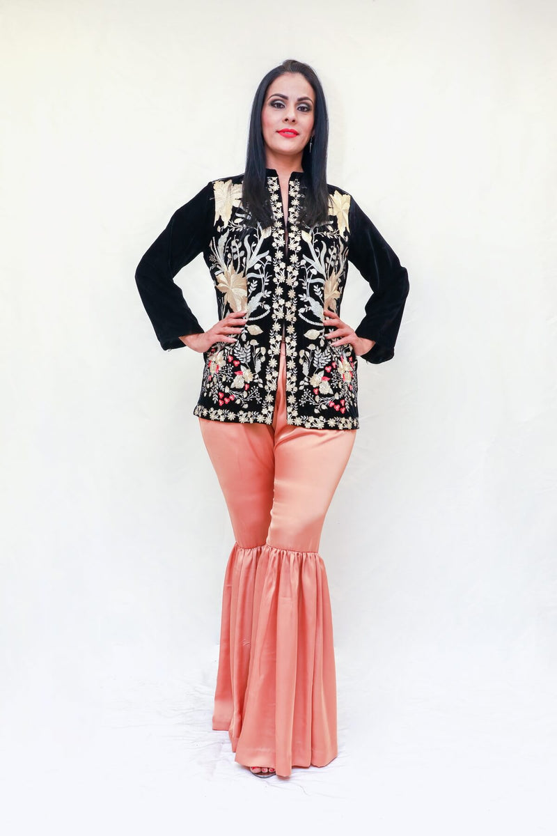 Velvet Jacket By Agha Noor & Garara Silk Pants - Trendz & Traditionz Boutique