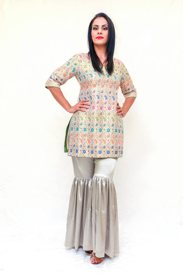 Silk Embossed Shirt Garara Pants- Trendz & Traditionz Boutique