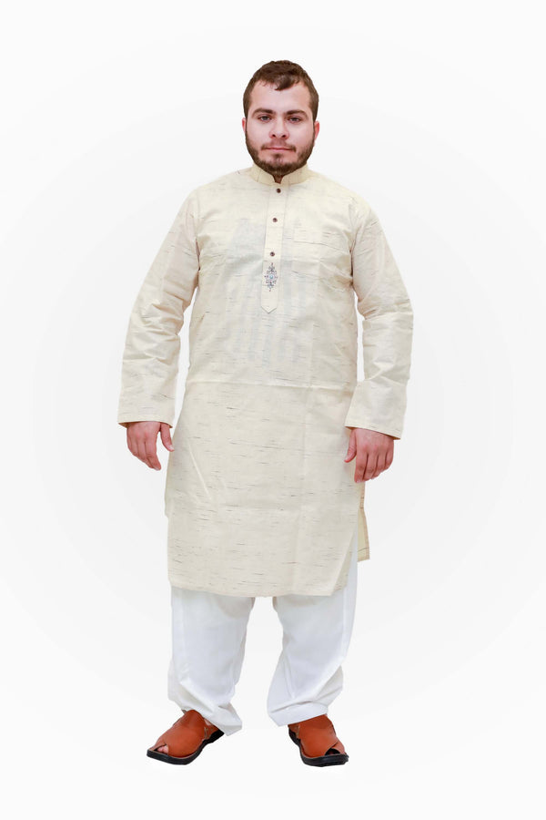 A light yellow cotton shirt with a pocket on the chest and minimal embroidery