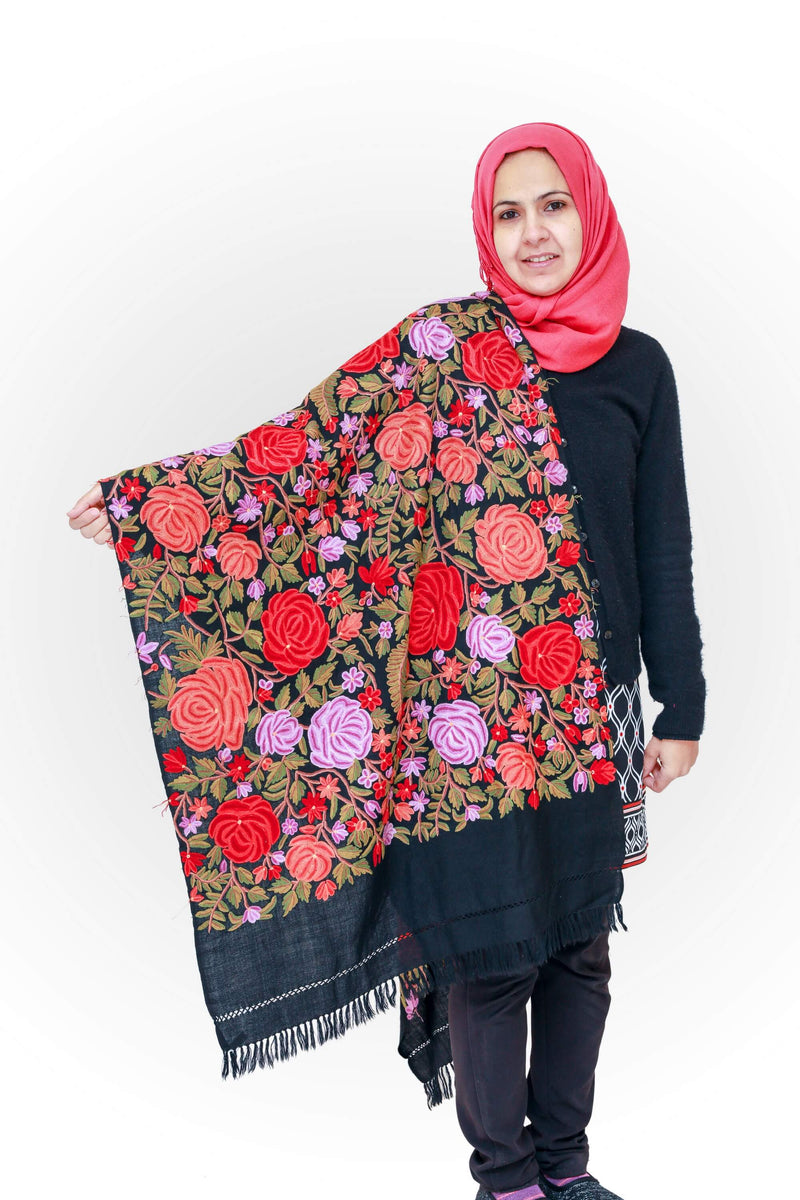 Hand Embroidery Kashmir Shawl- Trendz & Traditionz Boutique