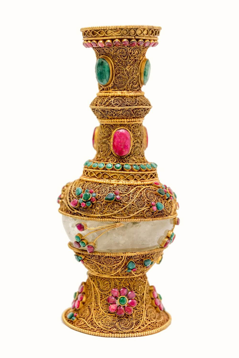 Golden Vase With Gemstone Glass & Brass- Trendz & Traditionz Boutique
