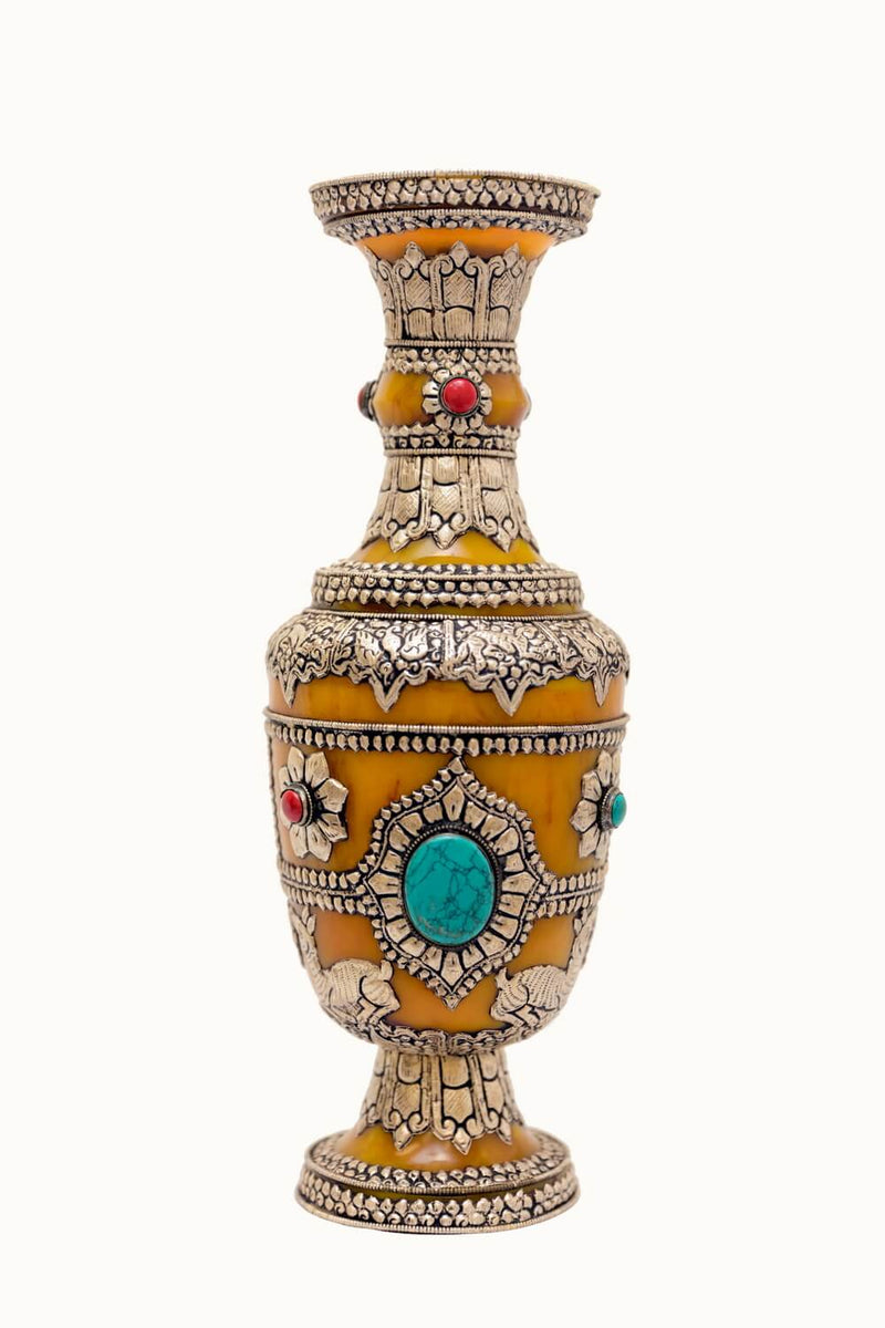 Amber Silver Vase With Turquoise & Coral Gemstones. This delicate hand made Carved vase is made in Nepal with real Amber and gemstones with Silver hand carving of the flowers and dears