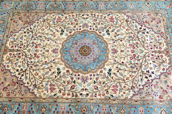 Pakistani Handmade Wool Rug with Motifs-Trendz & Traditionz Boutique