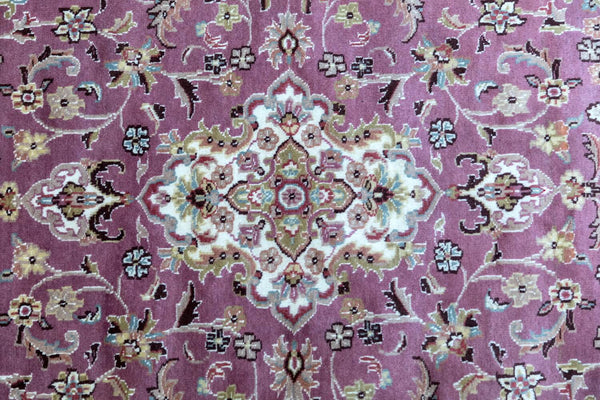 Pakistani Handmade Silk Rug with Motifs- Trendz & Traditionz Boutique