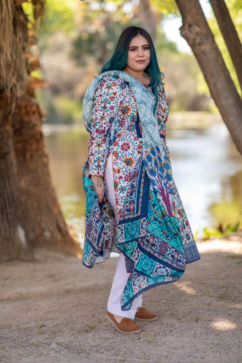 Cotton Multi-Color Embroidery Shirt with Silk Printed Dupatta-Scarf- Trendz & Traditionz Boutique