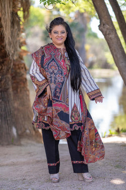 Elan Winter Suit with Stripped shirt and Embroidery - Trendz & Traditionz Boutique