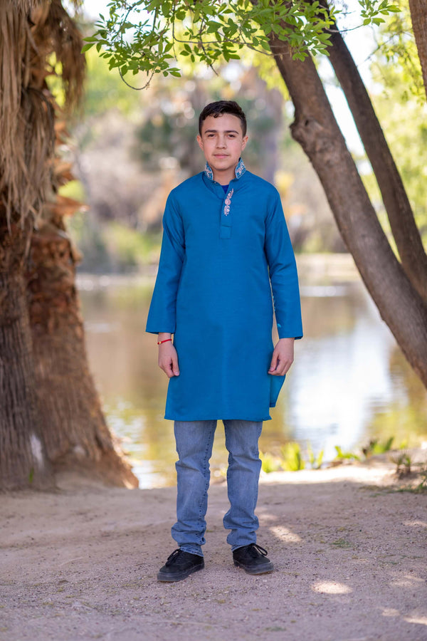 Men Silky Blue Embroidery Shirt-Kurti - Trendz & Traditionz Boutique