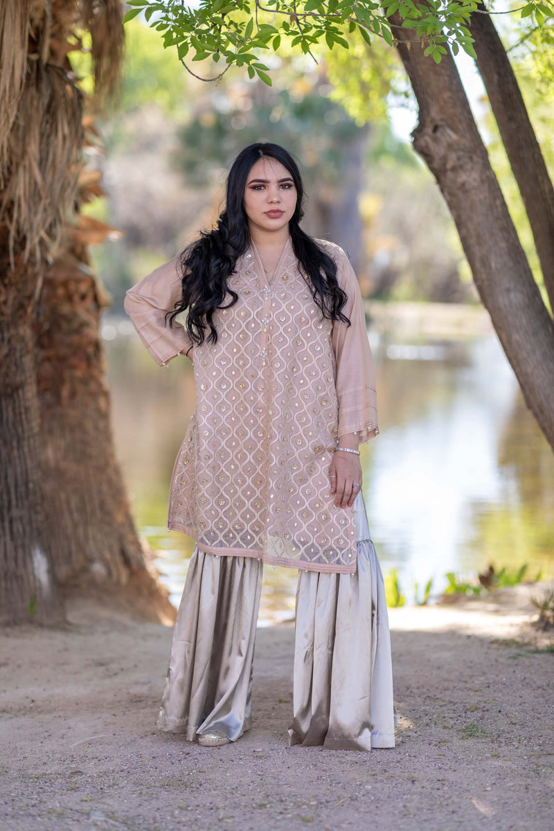 Beaded Silk Shirt-Kurti & Silky Pant-Garara- Trendz & Traditionz Boutique