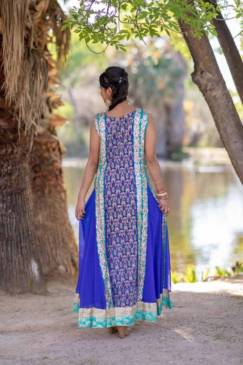 Blue Fancy Chiffon Gown-Dress- Trendz & Traditionz Boutique
