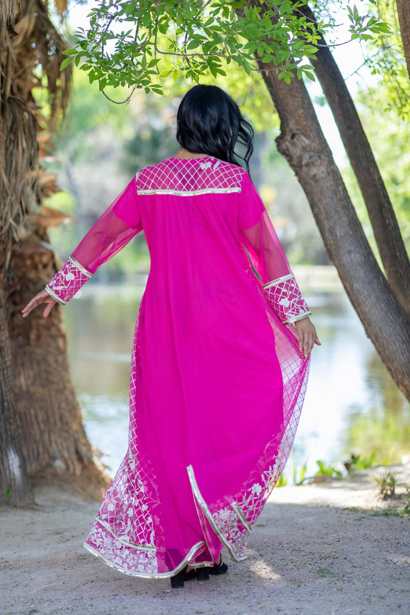Hot Pink Long Sleeve Chiffon Dress- Trendz & Traditionz Boutique