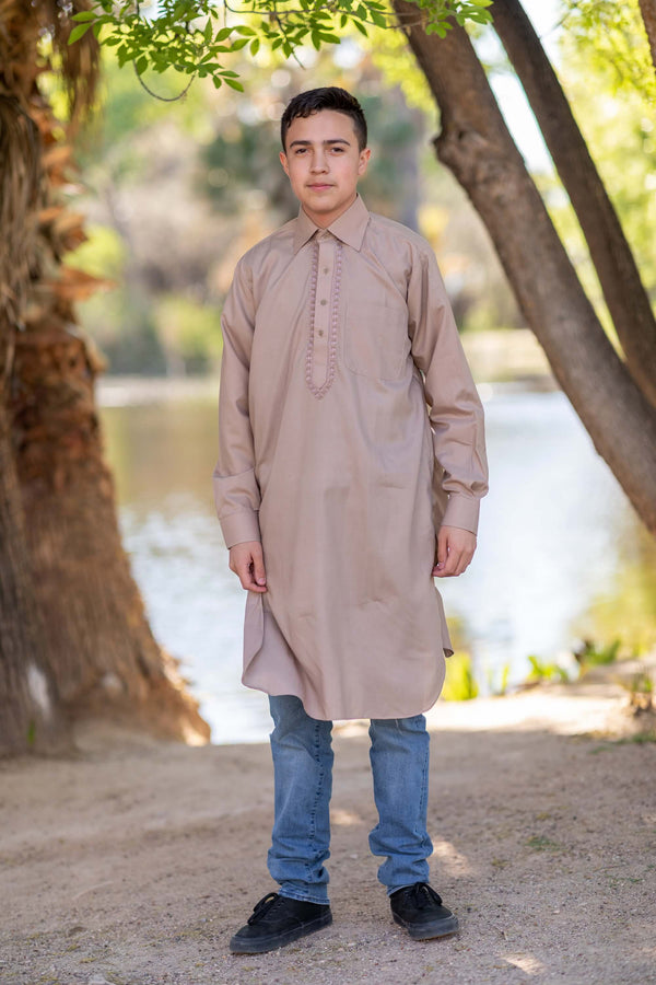 Men's Collared Button Down Beige Cotton Shirt- Trendz & Traditionz Boutique