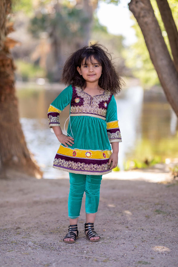 Green Afghan Velvet Girls Dress- Trendz & Traditionz Boutique