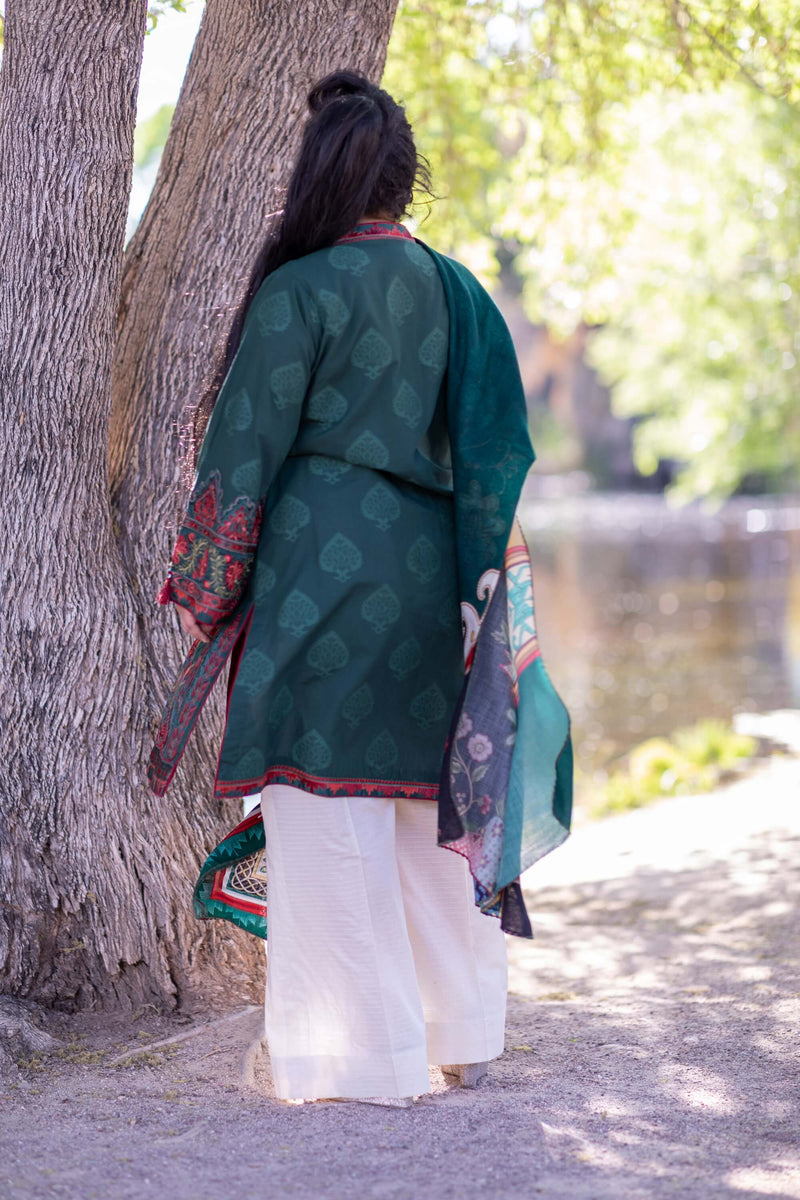 Green Cotton Suit-Salwar Kameez - Trendz & Traditionz Boutique