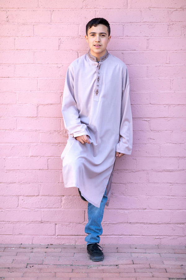 Light Mauve Cotton Men Shirt- Trendz & Traditionz Boutique
