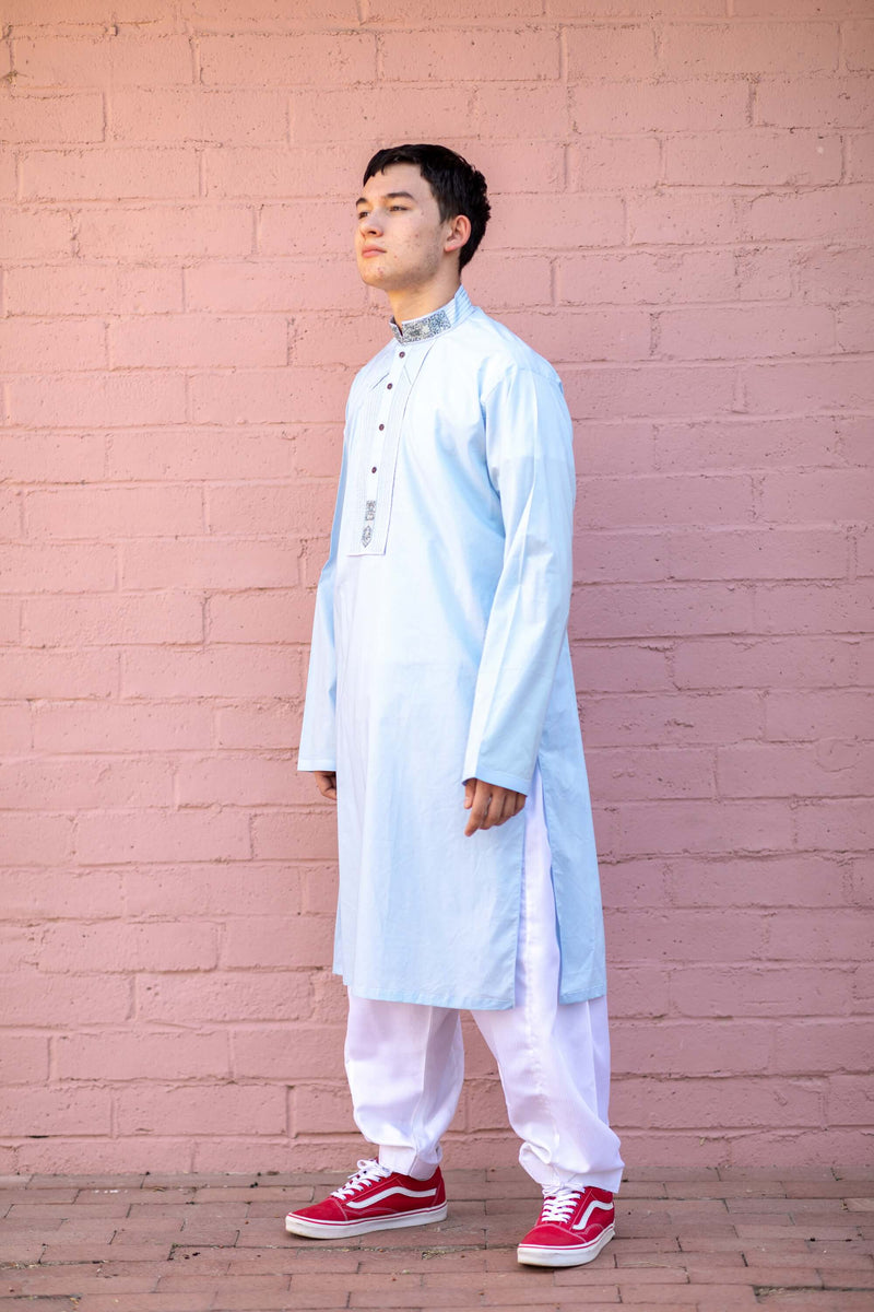 Blue Color Cotton Embroidered Kurta-Shirt - Trendz & Traditionz Boutique