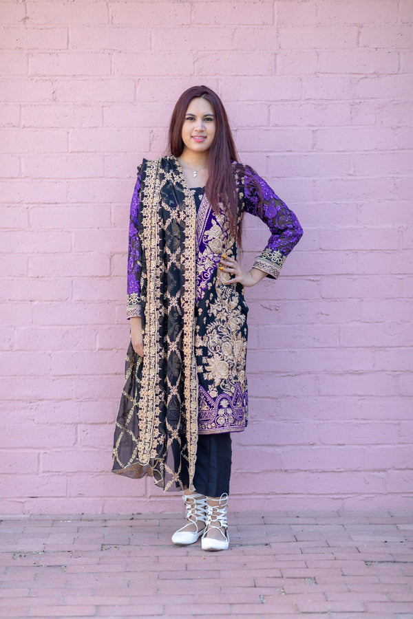 Elegant Chiffon Embroidery Sequin Dress- Trendz & Traditionz Boutique