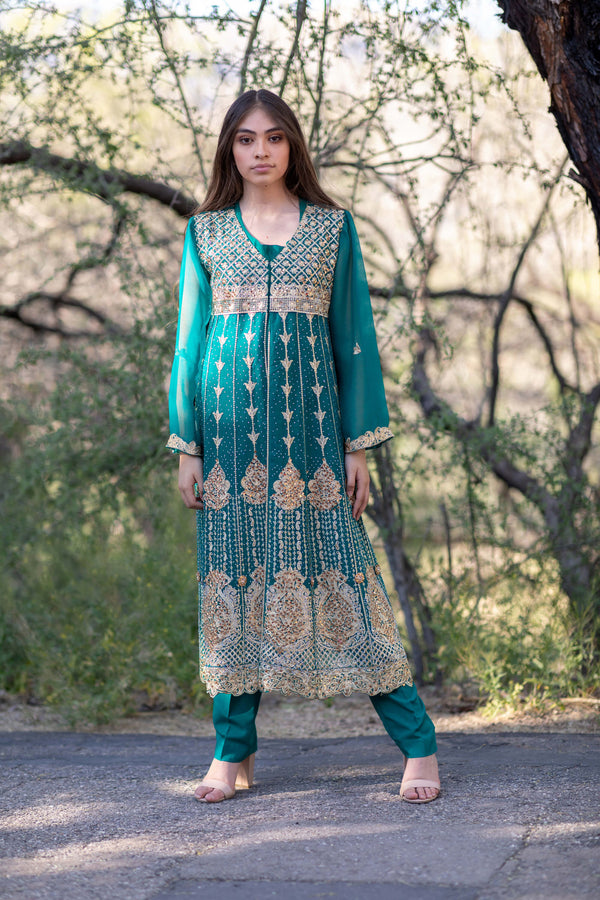 Emerald Green Beaded Embroidery Anarkali Chiffon Gown- Trendz & Traditionz Boutique