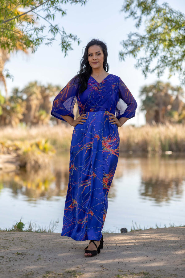 Elegant Silk Printed Gown - Trendz & Traditionz Boutique