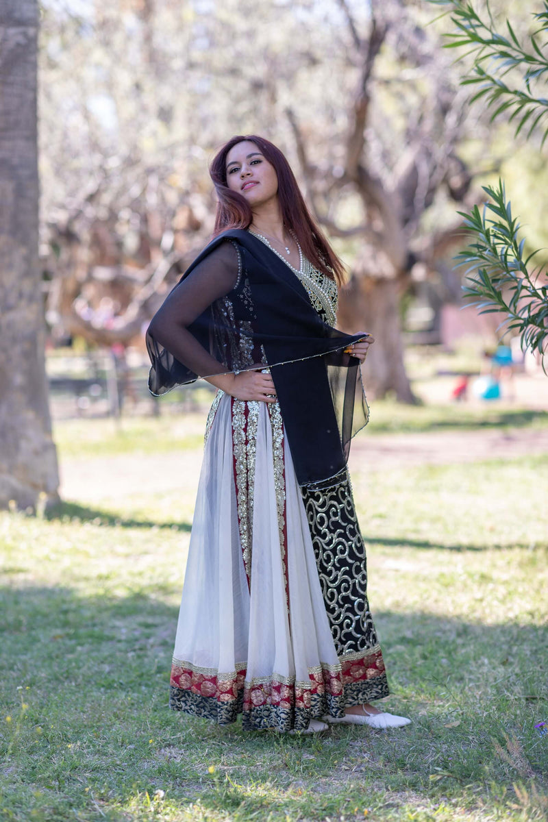 White with Black Chiffon Embroidery Dress-Gown - Trendz & Traditionz Boutique