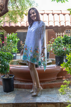 Chiffon Embroidery White Caftan - Trendz & Traditionz Boutique