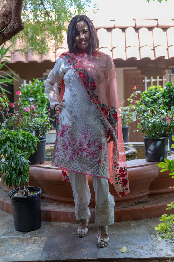 Organza Shirt, Net Scarf & Silk Pants-All Embroidered- Trendz & Traditionz Boutique