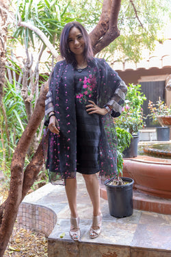 Black Organza Embroidery Shirt-Kurti- Trendz & Traditionz Boutique