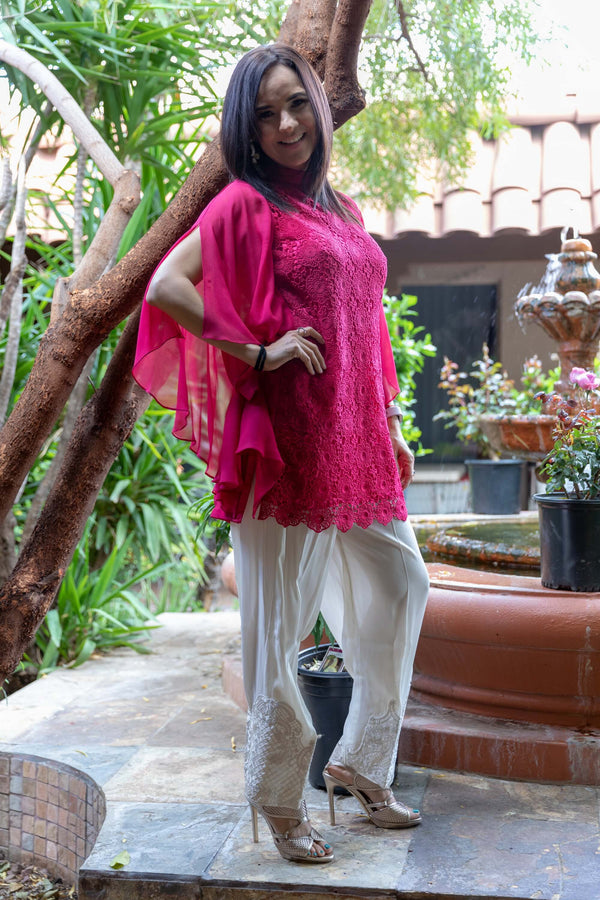 Pink Chiffon Net Shirt - Trendz & Traditionz Boutique