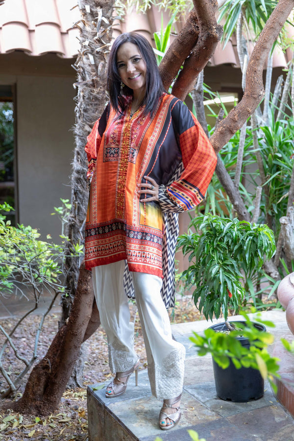 Silk Printed Shirt-Kurti / Cotton Pant - Trendz & Traditionz Boutique