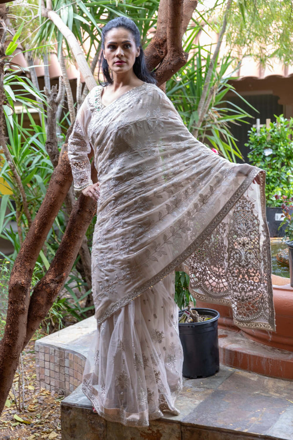 Maria B. Designer Off White Chiffon Saree With Embroidery - Trendz & Traditionz Boutique