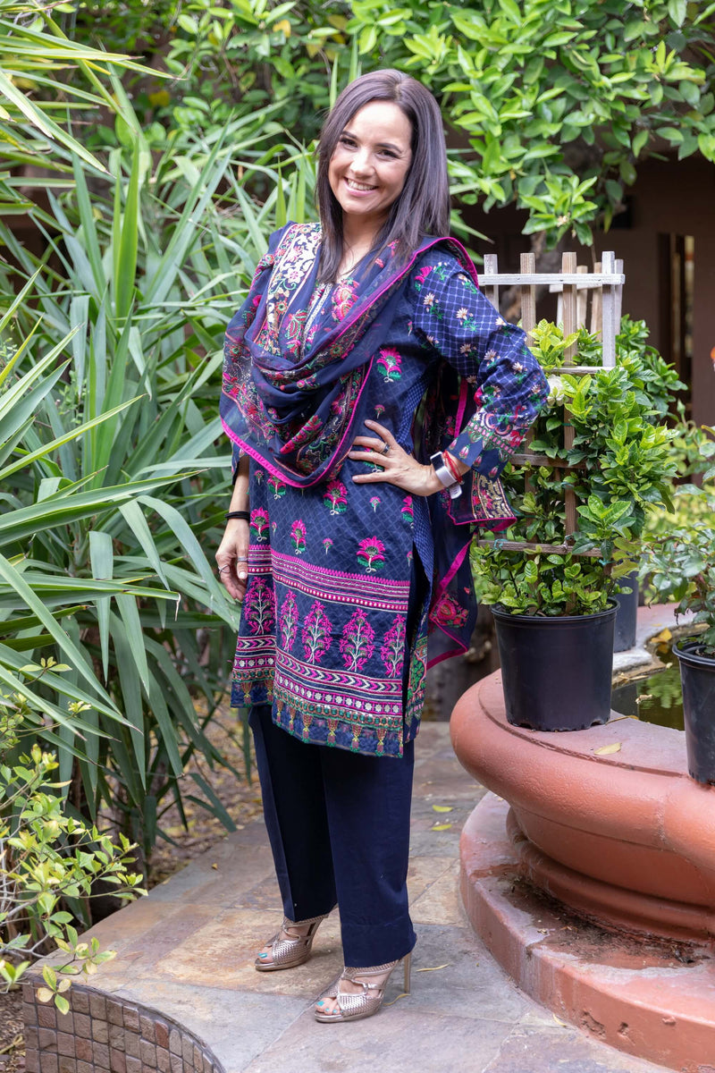 Navy Blue Cotton Embroidery Suit Slawar Kameez- Trendz & Traditionz Boutique