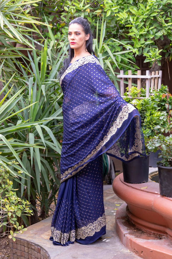 Chiffon Navy Blue Saree With Gold Embroider and Trim - Trendz & Traditionz Boutique