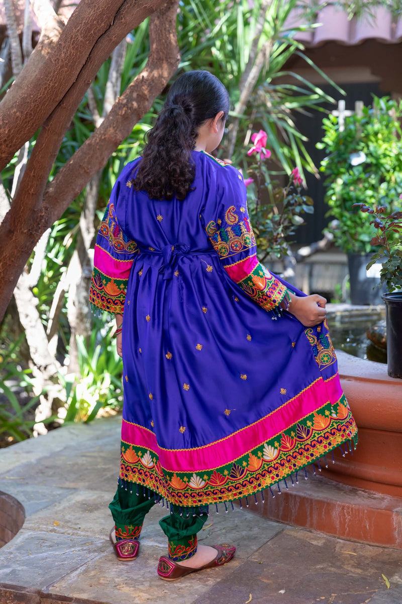 Girls Afghan Velvet Dress-Frock- Trendz & Traditionz Boutique