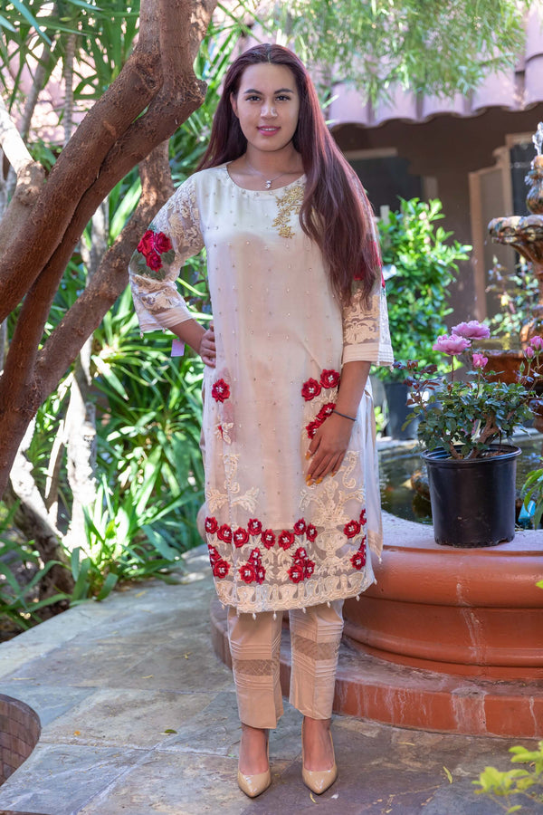 Beige Silk Embroidery Shirt-Kurti- Trendz & Traditionz Boutique