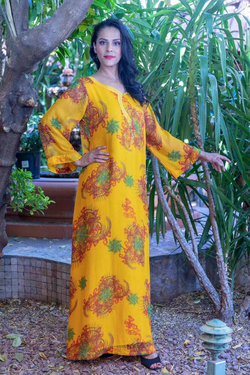 Long Silk and Chiffon Gown with Flower Print- Trendz & Traditionz Boutique