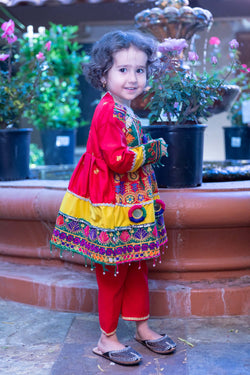 Vibrant Multicolored Silk Kid's Suit  - Trendz & Traditionz Boutique