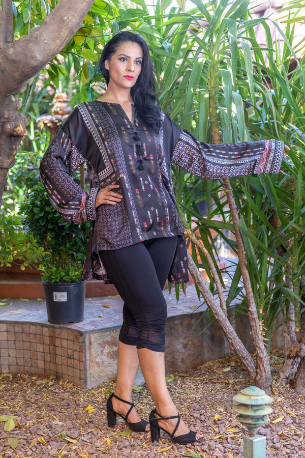 Casual Long Sleeve Silk Kurtil Dark Patterned - Trendz & Traditionz Boutique
