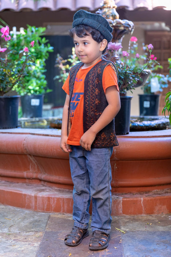 Children's Black Embroidered Vest - Trendz & Traditionz Boutique