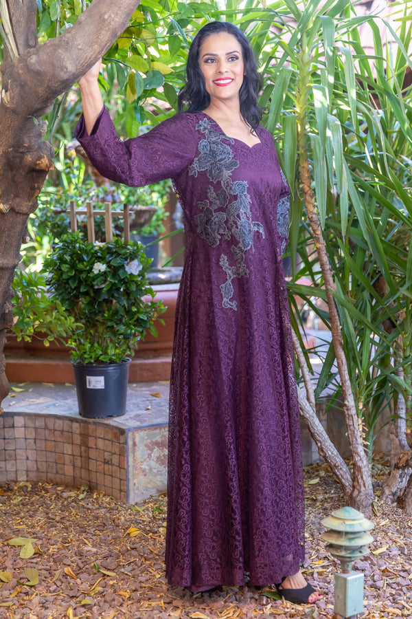 Purple Net Gown with Embroidery Motif- Trendz & Traditionz Boutique