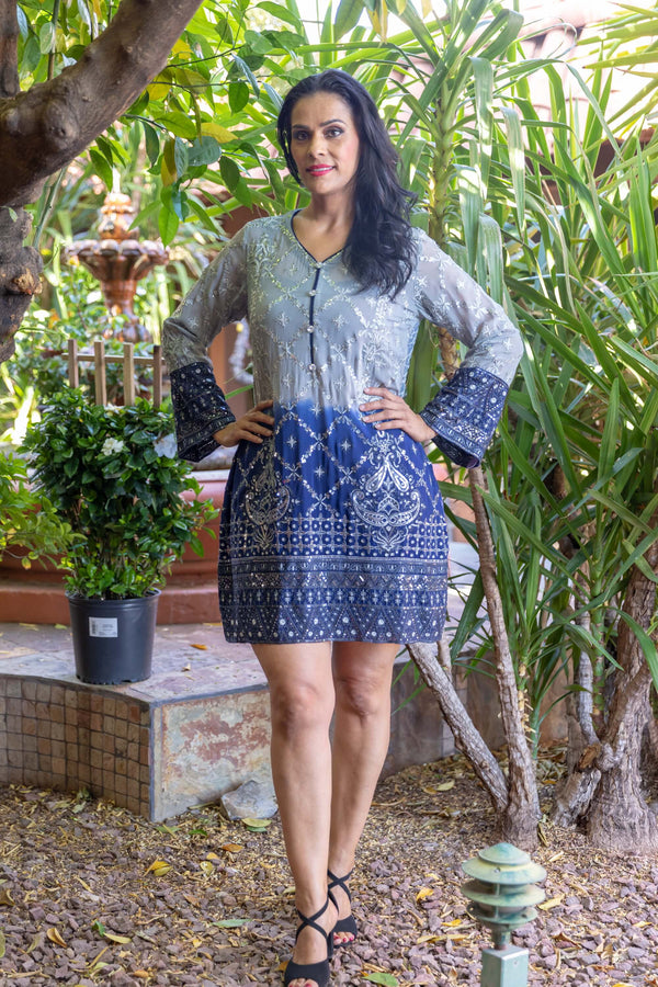 Grey and Blue Kurti- Shirt by Thread and Motifs- Trendz & Traditionz Boutique