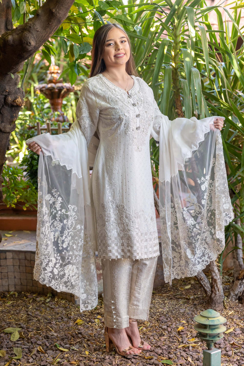 White Chiffon Shirt & Net Scarf Embroidery Suit-Salwar Kameez- Trendz & Traditionz Boutique